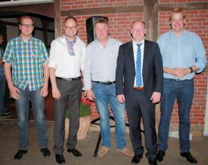 Foto(v.l.): Heinz Möddel; Manfred Wellen, Bürgermeister; Dieter Nüsse, Vorsitzender CDU Lohne; Reinhold Hilbers, MdL und Kreisverbandsvorsitzender CDU Grafschaft Bentheim; Albert Stegemann, MdB
