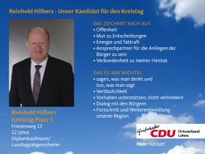 1. Listenplatz: Reinhold Hilbers