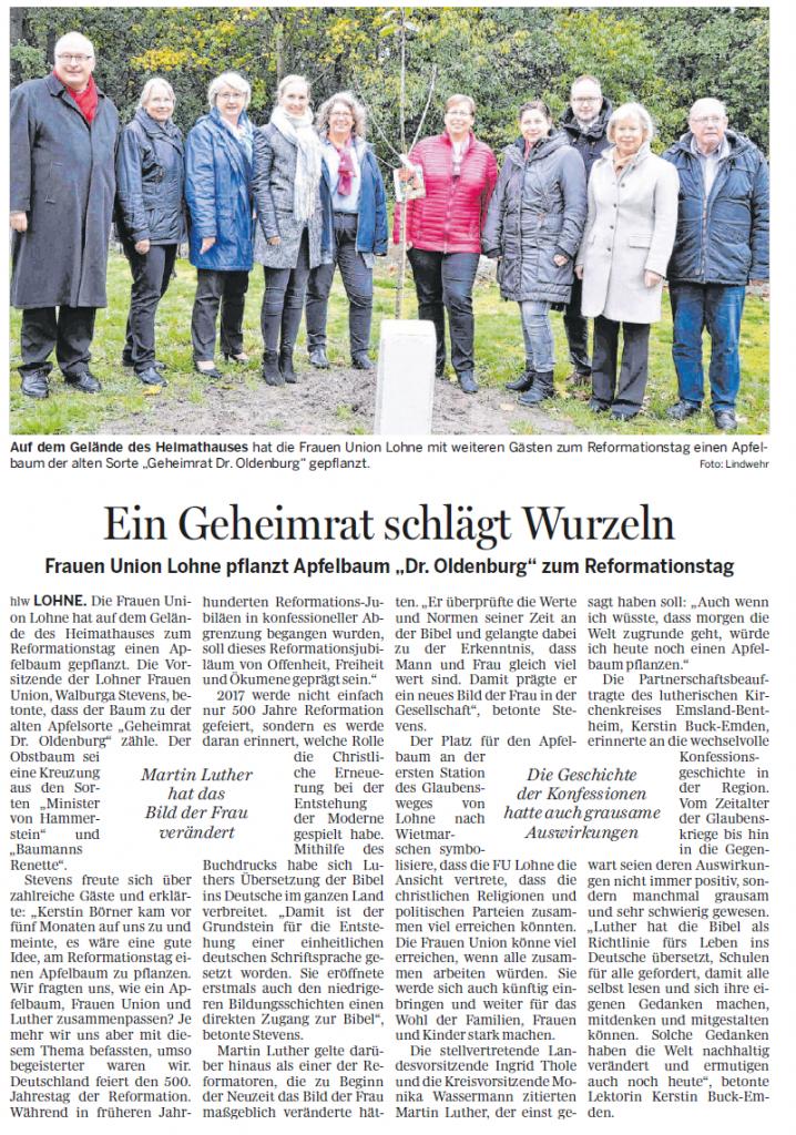 Ein Geheimrat schlägt Wurzeln (Quelle: Grafschafter Nachrichten)