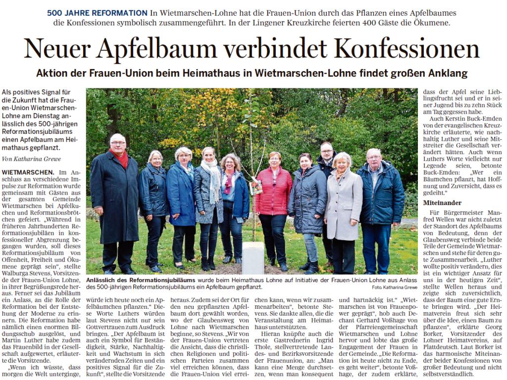 Neuer Apfelbaum verbindet Konfessionen (Quelle: Lingener Tagespost)