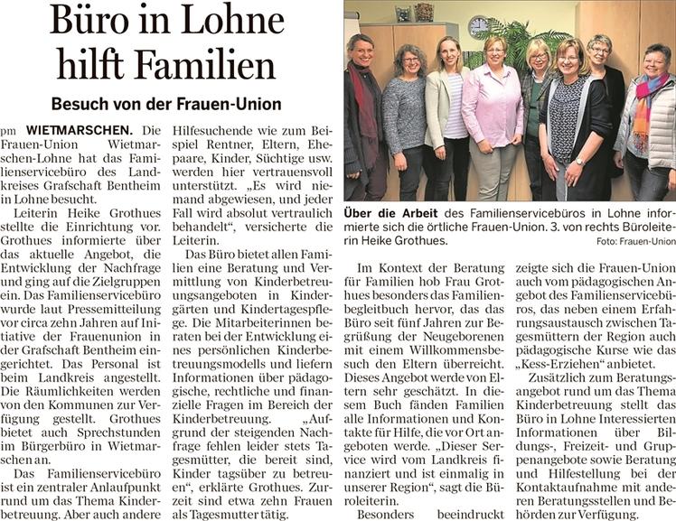 """""""Büro in Lohne Hilft Familien"""" - Unter diesem Artikel berichtete die Lingener Tagespost am 16. März über den Besuch beim Familienservicebüro"""