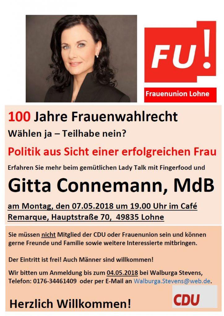 100 Jahre Frauenwahlrecht - Veranstaltung mit Gitta Connemann am 07.05.2018 um 19:00 Uhr im Café Remarque